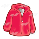 A Beka Book :: Clip Art :: Red Hooded Jacket—with zipper.