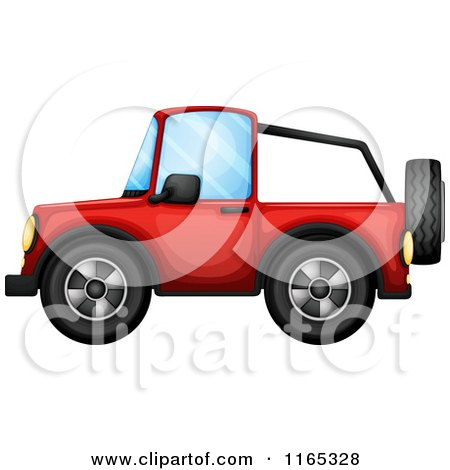 Clipart of a Red Jeep Wrangler Vehicle Catching Air.