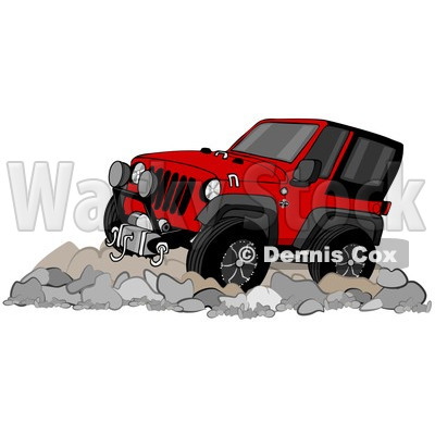 of a Cartoon Red Jeep Wrangler SUV on Boulders.