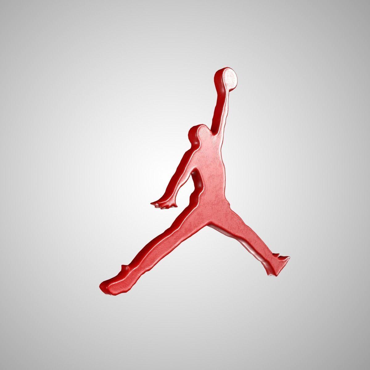 Jordan Logo Red 3D model Vray Ready Game Ready.