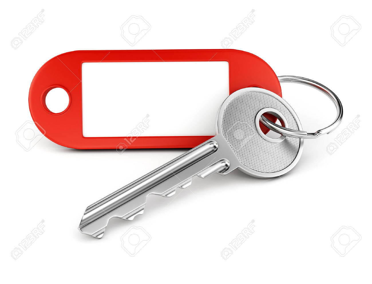 Door Key And Red Plastic Keyring With Blank Tag For Text Or Number.