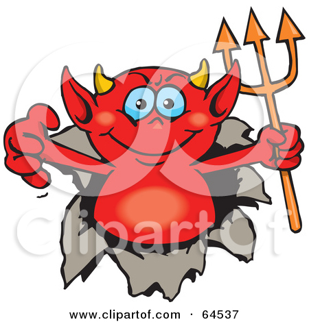 Clipart of a Happy Blue Eyed Red Devil Peeking over a Sign.