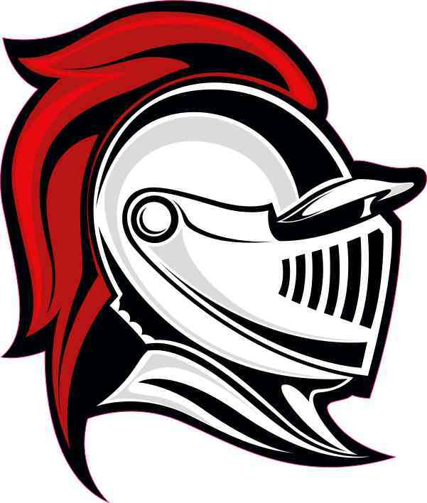 4in x 4.5in Red Knight Mascot Sticker Vinyl School Vehicle Bumper Stickers.