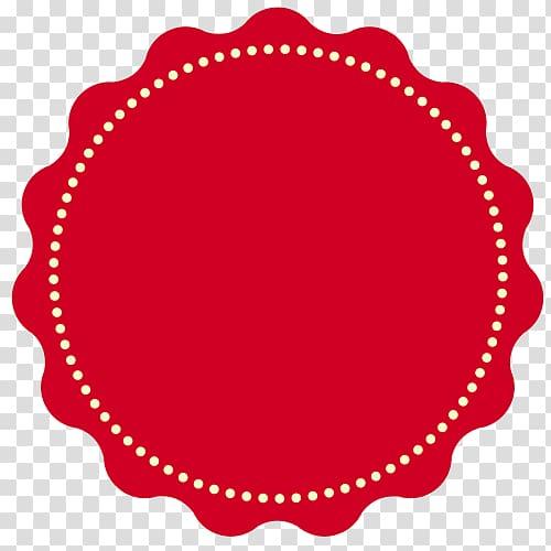 Round red and white logo illustration, Sticker Label.