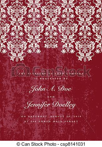 Vector Clip Art of Vector Distressed Red Lace Background. Easy to.