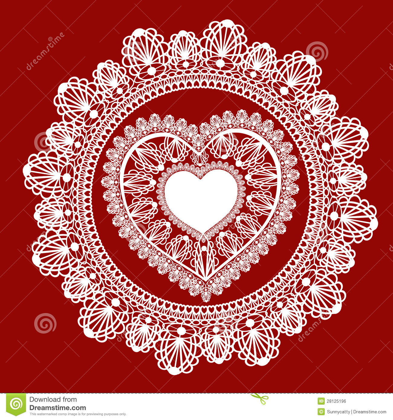 Lace Heart On Red Background Royalty Free Stock Image.
