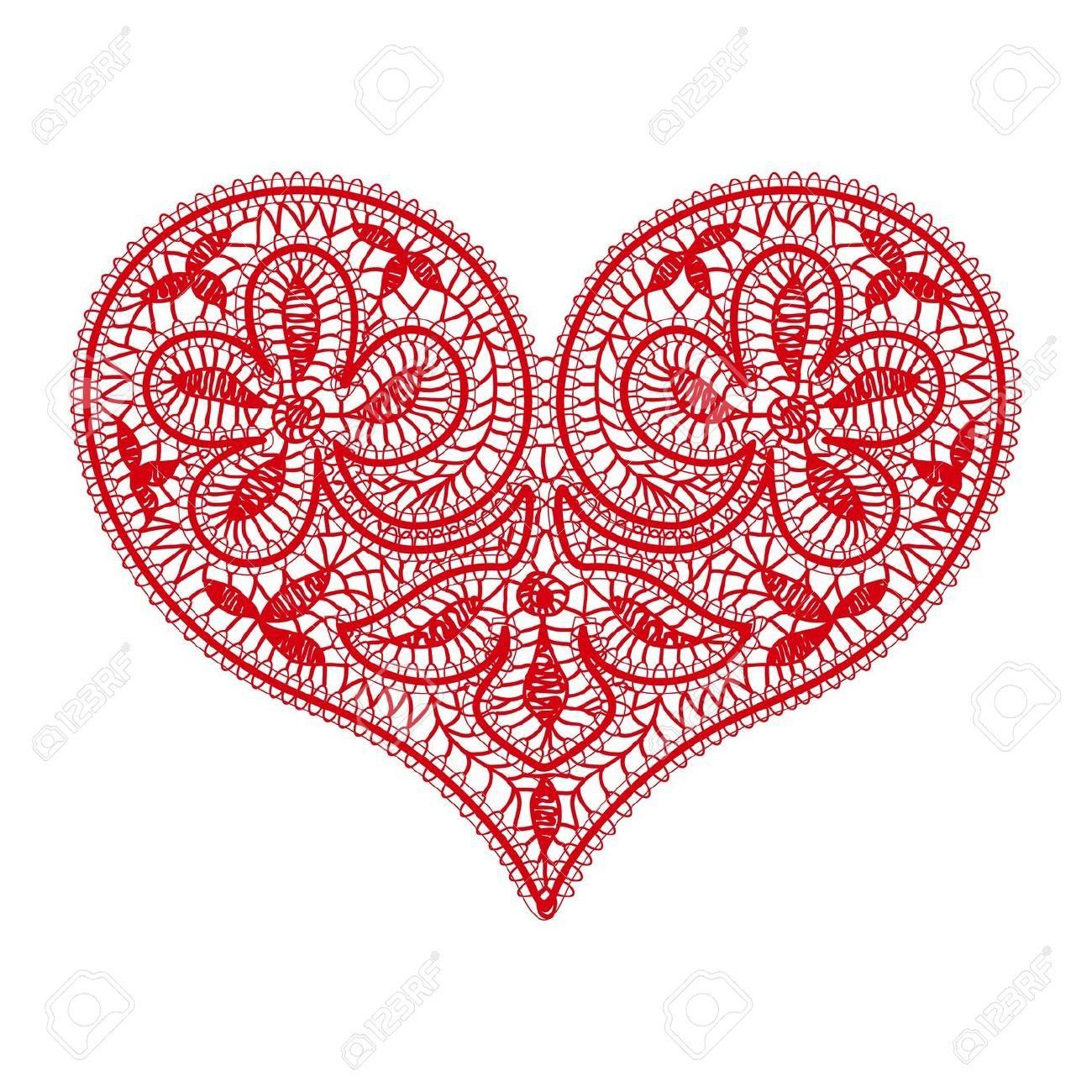 White lace heart transparent clipart no background.