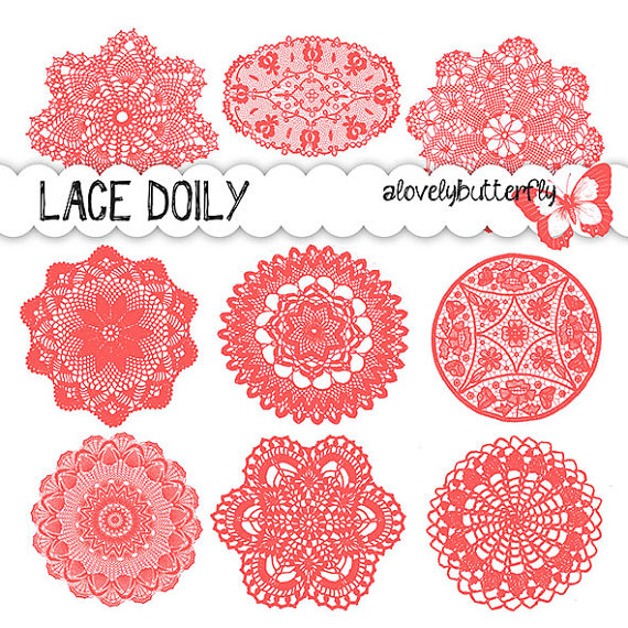 Items similar to Doily lace clipart, coral red, red lace digital.
