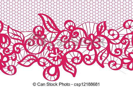 Vector of seamless vector red lace with floral pattern csp12188681.