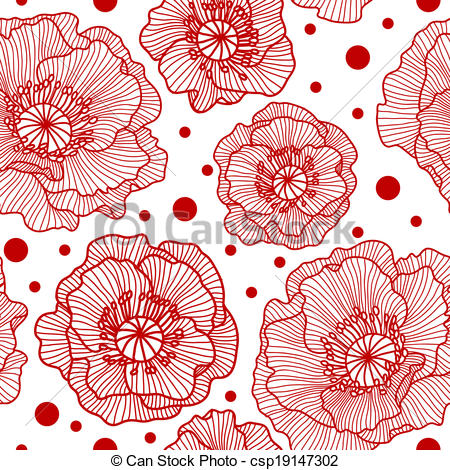 Vector Clipart of Seamless pattern with red lace poppies and.