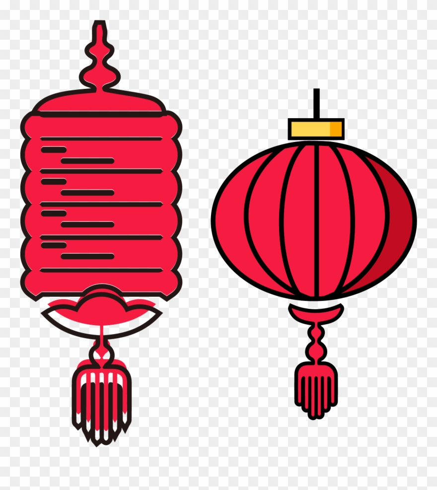 New Year Red Lantern Set Illustration Split 02ai Vector.