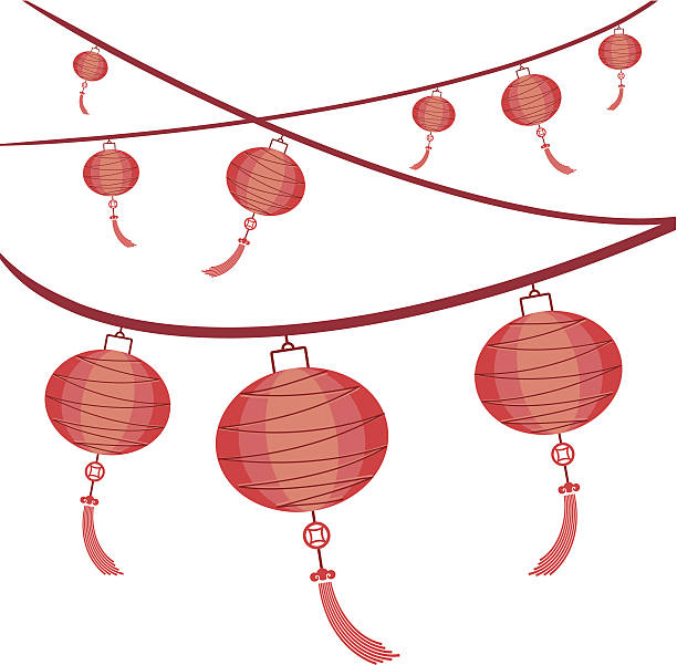 Lantern Mid Autumn Festival Chinese Lantern Red Clip Art, Vector.