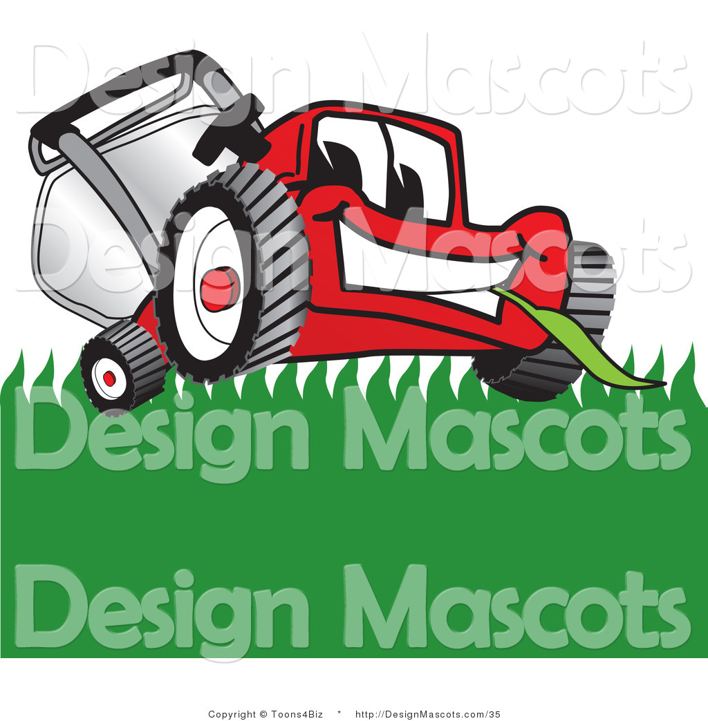 Clipart of a Red Lawn Mower Mascot Smiling While Mowing.