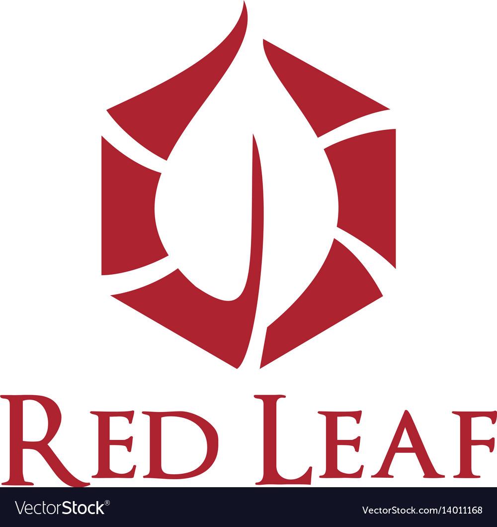 Red leaf logo design.