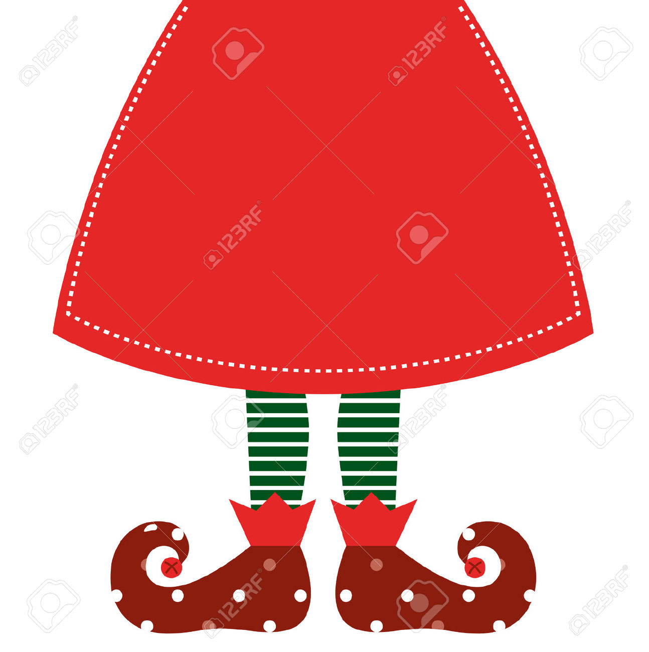Christmas Elf Legs With Red Skirt Vector Illustration Royalty Free.