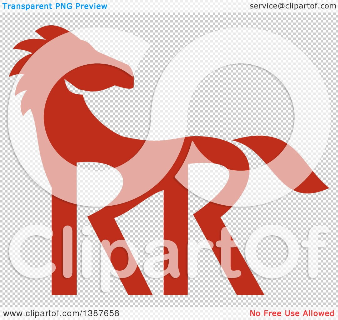 Clipart of a Retro Silhouetted Red Horse with Double RR Legs.