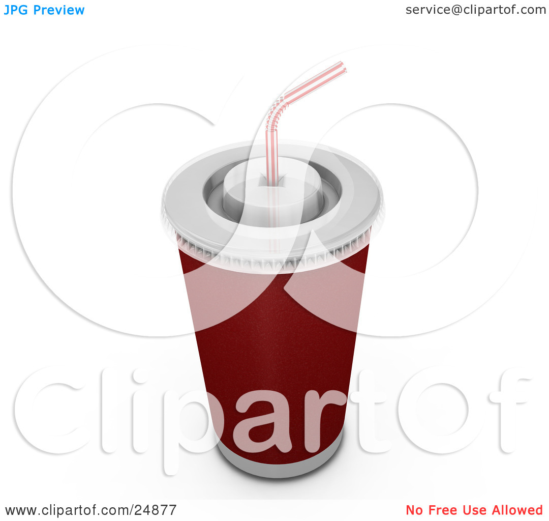 Clipart Illustration of a Red Fountain Soda Cup With A White Lid.