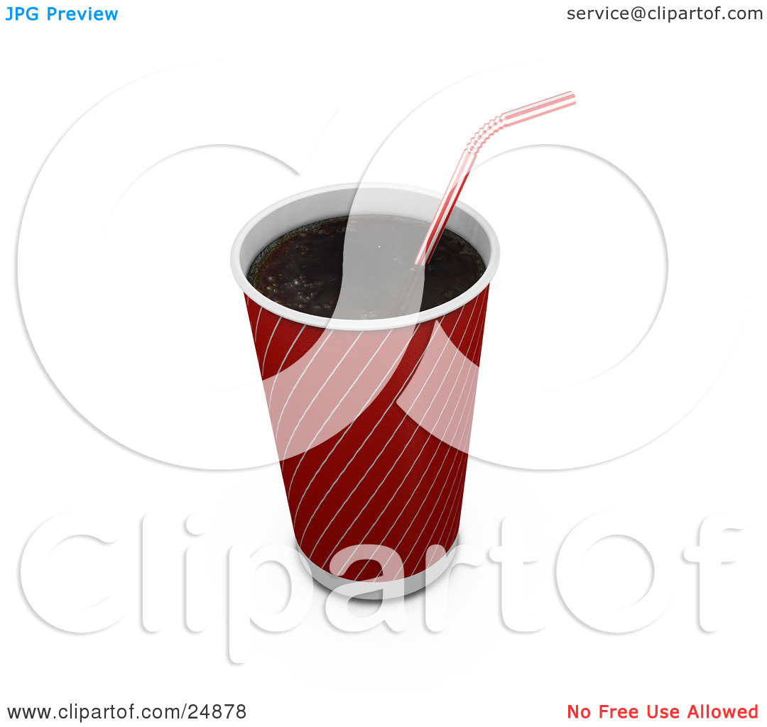 Clipart Illustration of a Red And Gold Soda Cup Without A Lid And.