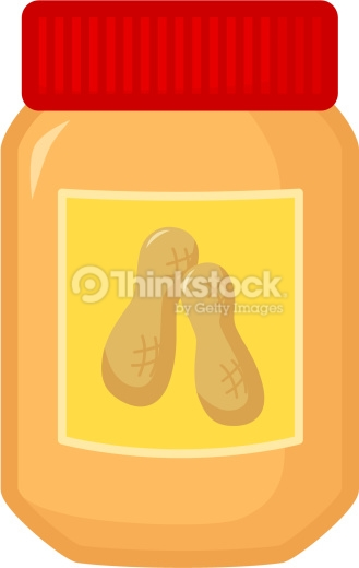 Clip Art Of A Peanut Butter Jar With A Red Lid Vector Art.