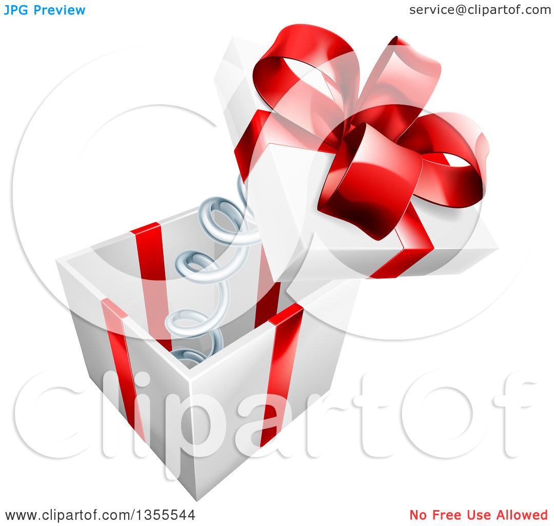 Clipart of a 3d Gift Box with a Red Bow and the Lid Popping off on.