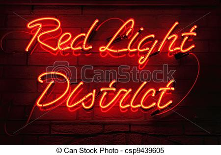 Stock Images of Red Light District neon sign in Amsterdam.