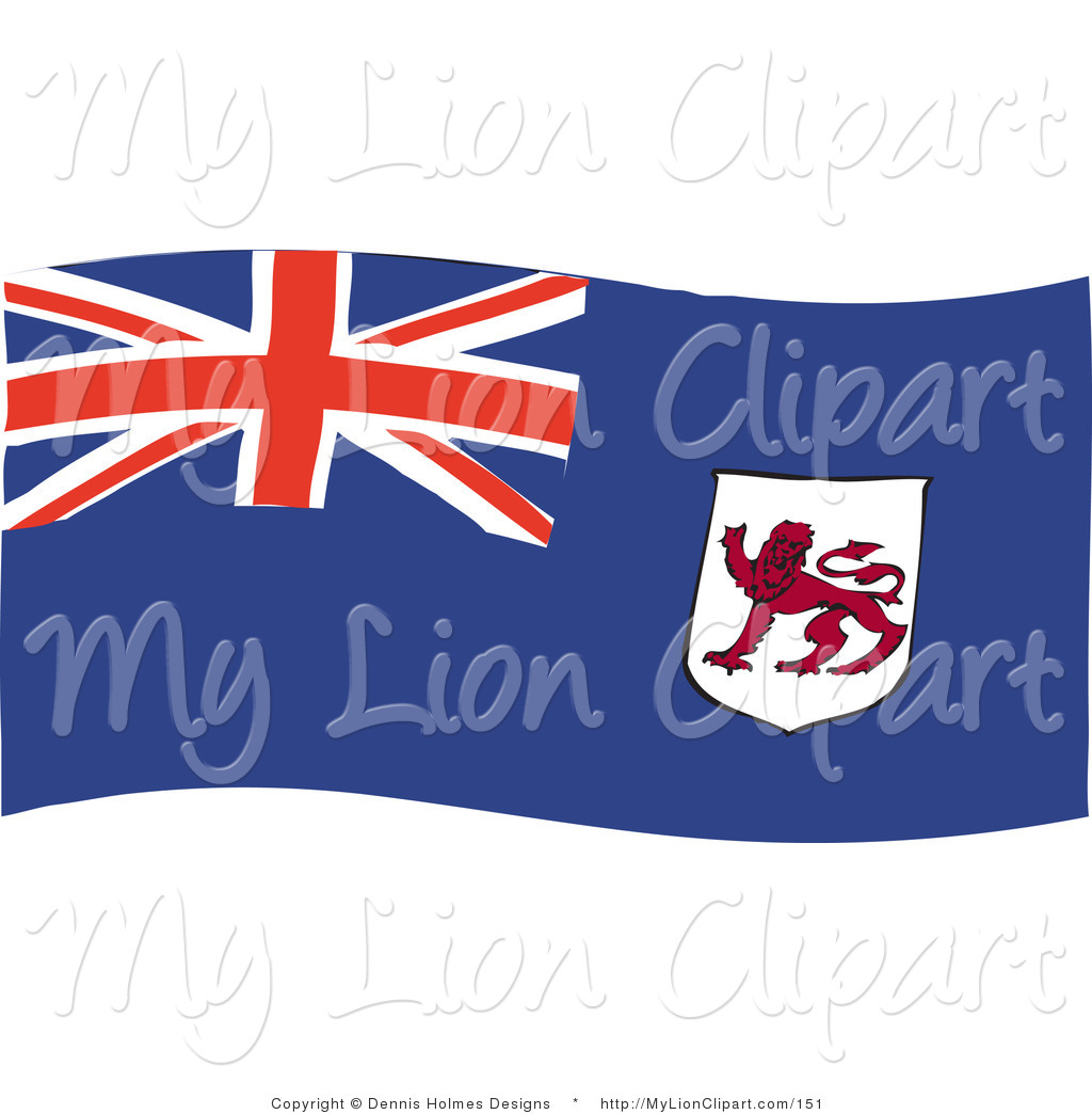 Clipart of a Blue Waving Tasmanian Flag with a Red Lion by Dennis.
