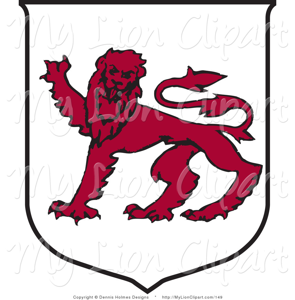 Clipart of a Tasmanian Coat of Arms with a Red Lion by Dennis.