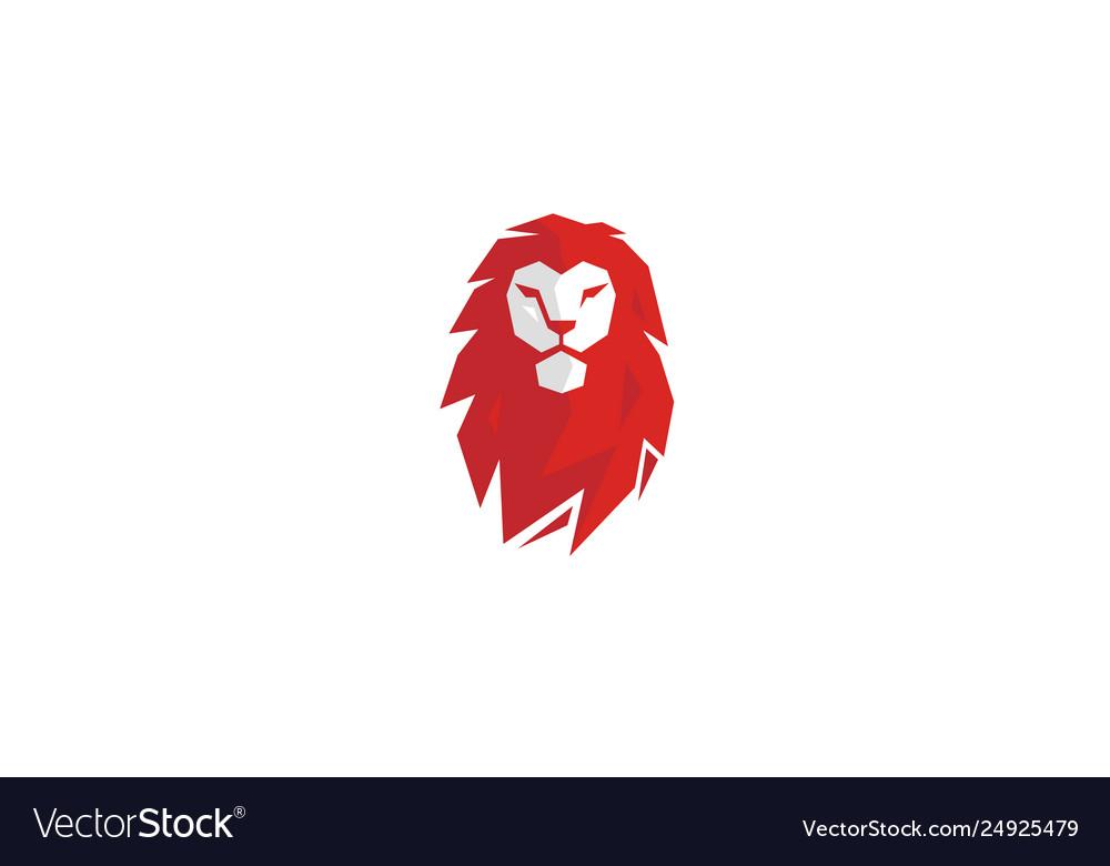 Creative red lion head logo.