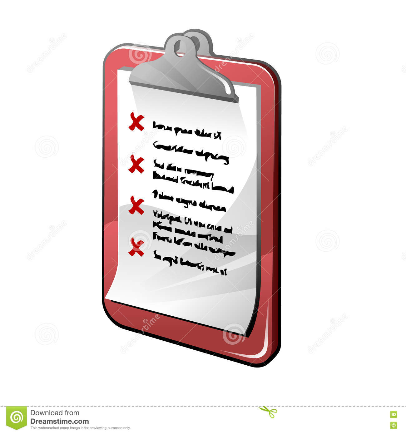 Clipboard With Red List Isolated On White Background Stock.