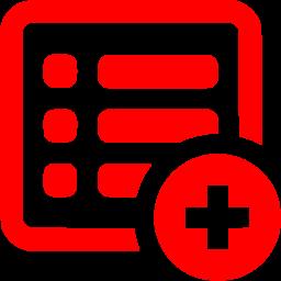 Red add list icon.