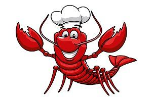 Happy cartoon red lobster chef.