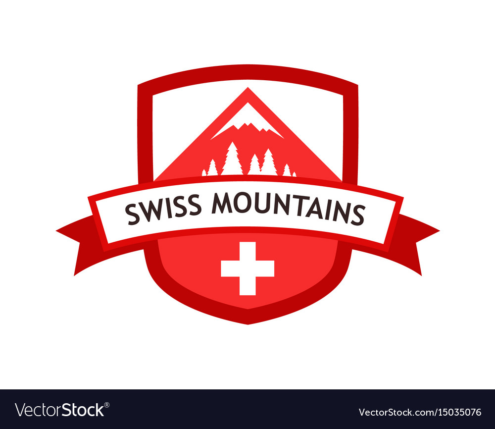 Red logo of swiss mountains.