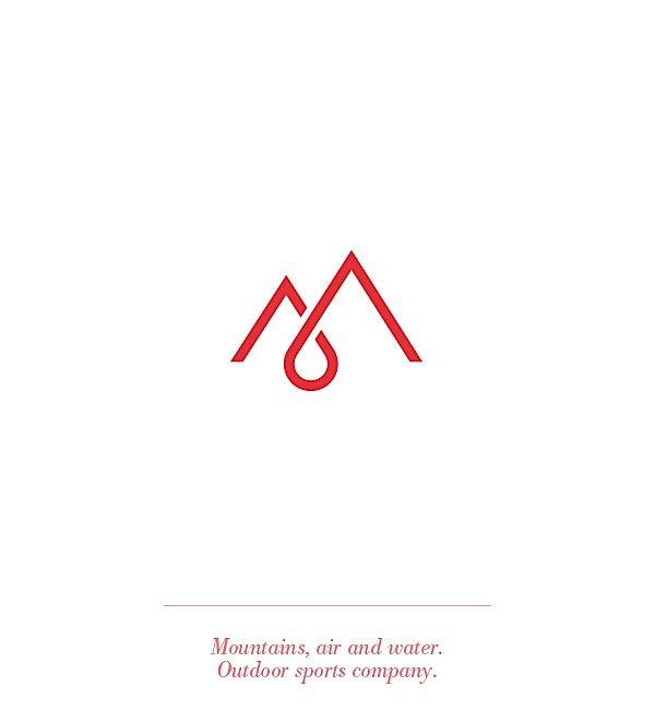 M logo / monogram / red / water drop / mountain.