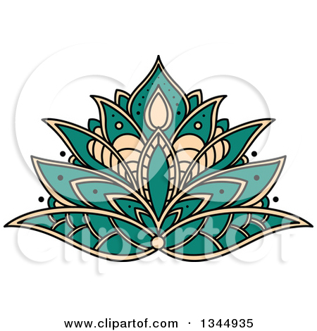 Clipart Illustration of a Pink Lotus Flower And Bud Floating With.