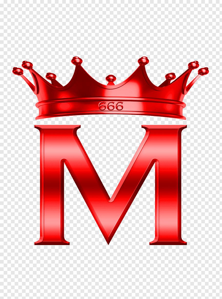 Red M and crown illustration, Letter M Alphabet Logo, m free.