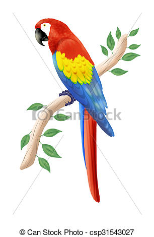 Clip Art of scarlet macaw.