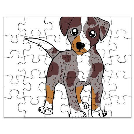 catahoula leopard dog red merle cartoon Puzzle by BestofBreeds1.