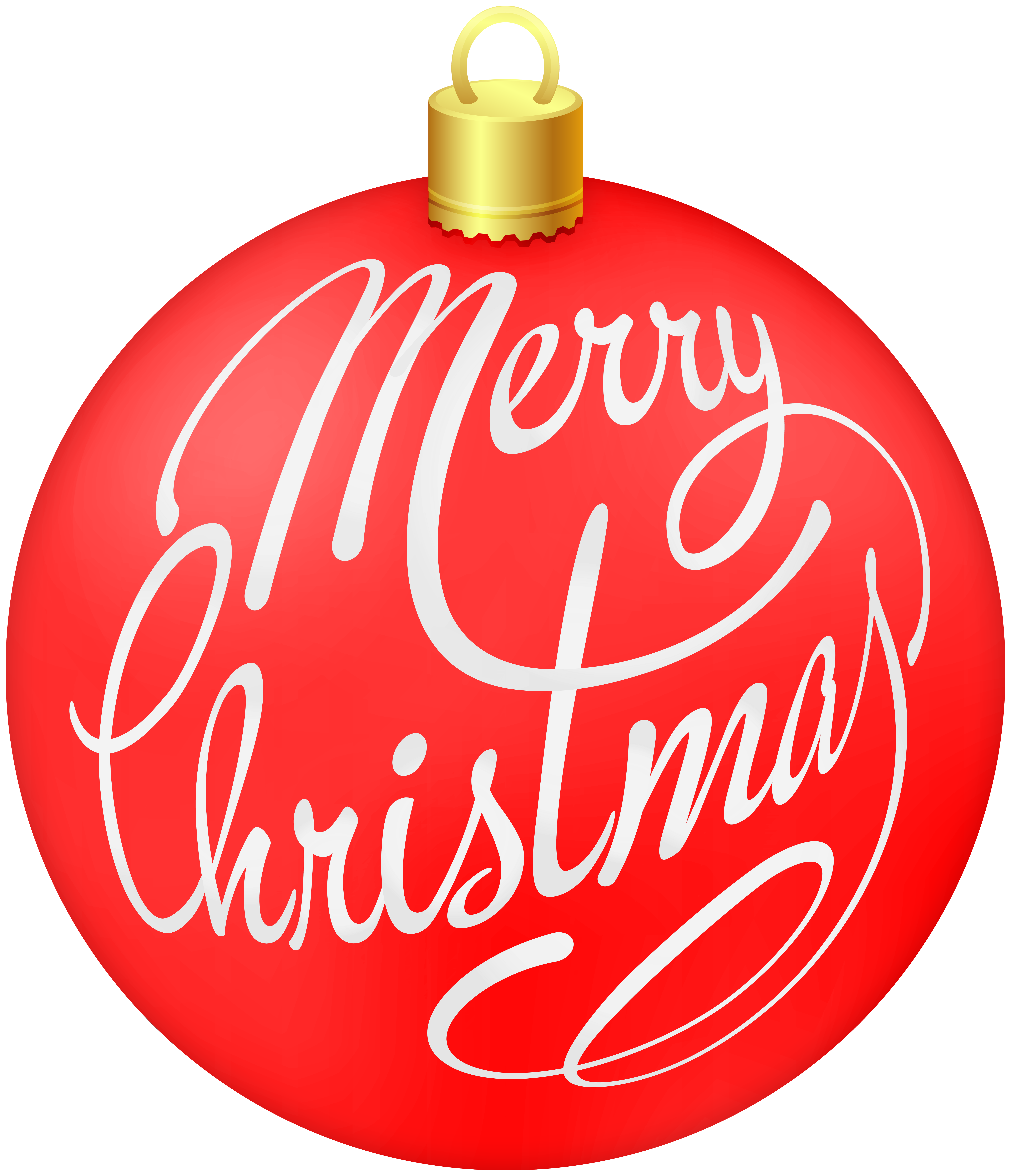 Red Merry Christmas Ornament Clip Art Image.