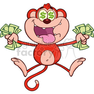 royalty free rf clipart illustration rich red monkey cartoon character  jumping with cash money and dollar eyes vector illustration isolated on  white ..