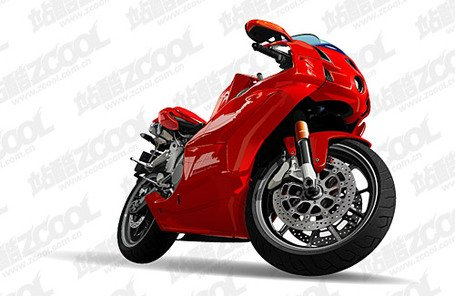 Ai red motorcycle vector drawing realistic material, free vectors.