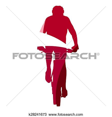 Clipart of Abstract red mountain biker geometric silhouette.