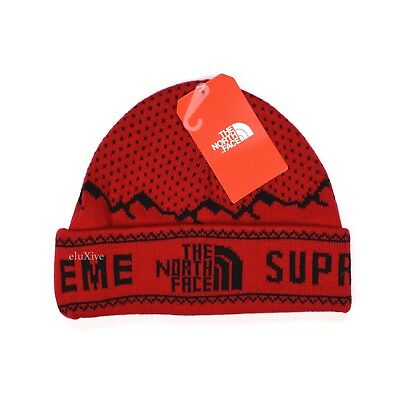 NWT Supreme The North Face Red Mountain Logo Knit Beanie Hat Cap FW18  AUTHENTIC.