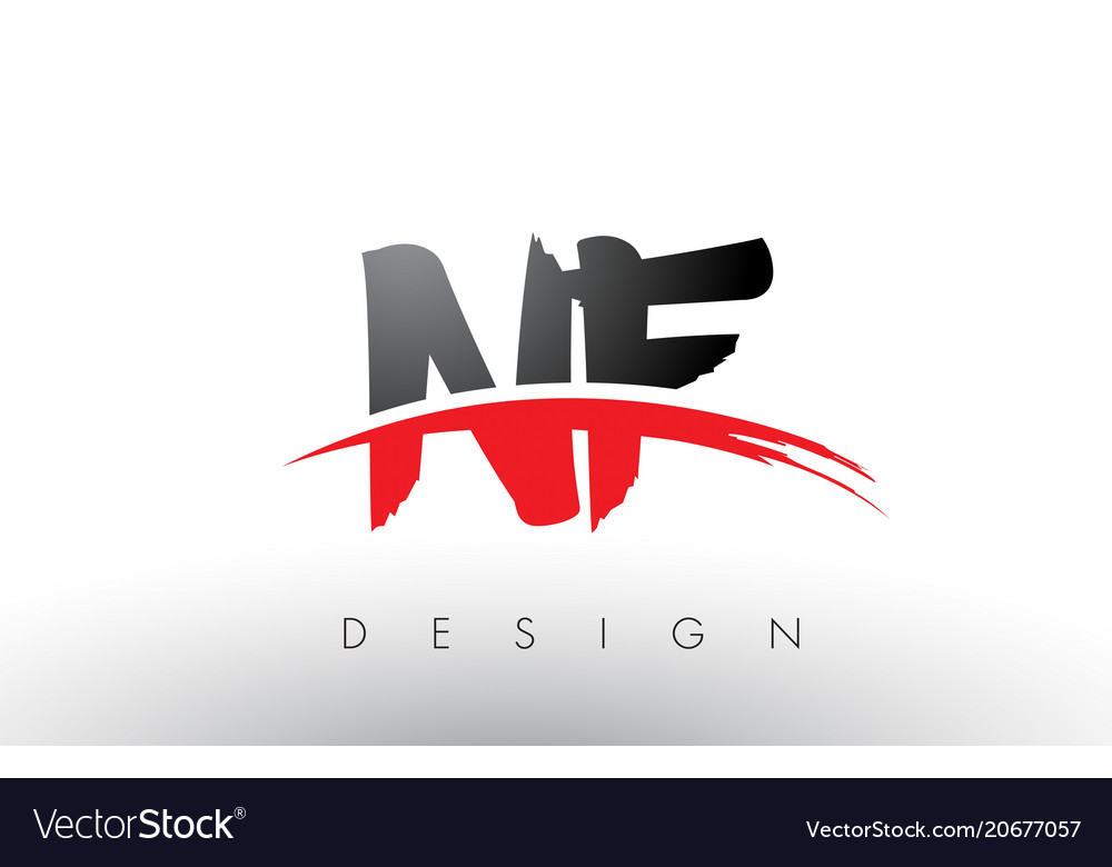 Nf n f brush logo letters with red and black.