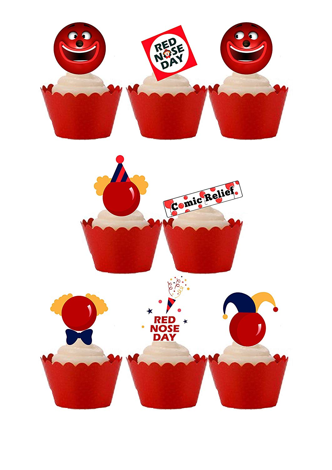 24 Stand Up Red Nose Day Comic Relief Themed Premium Edible Wafer Paper  Cake Toppers Decorations.