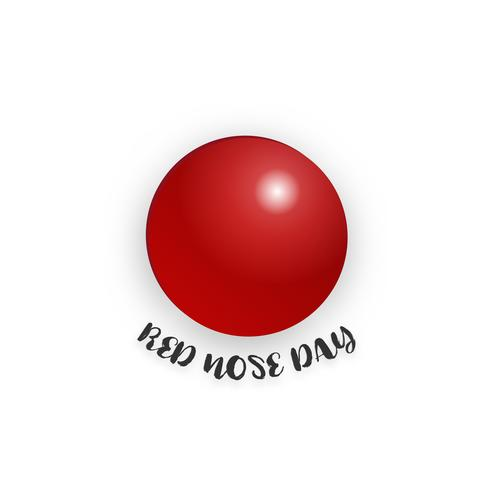 Red nose day on isolated white background. Holiday and.