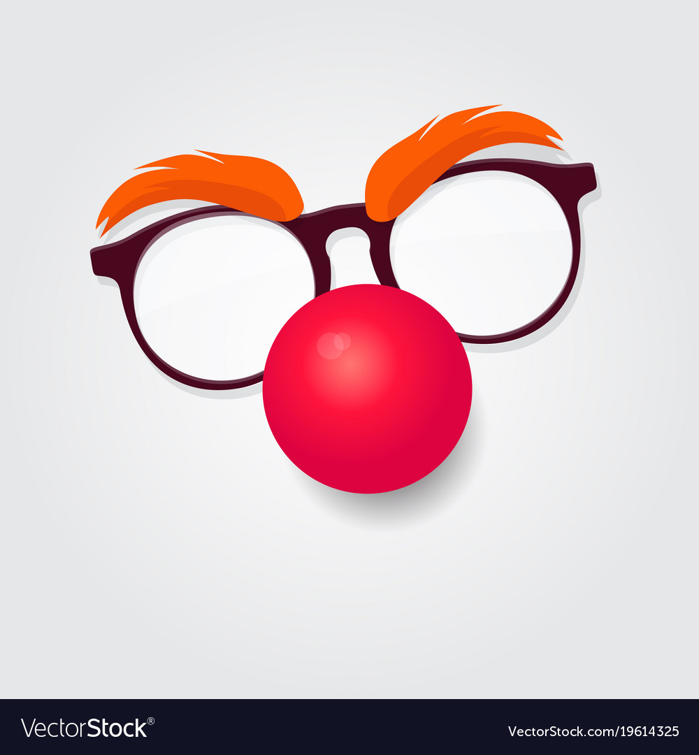 Red nose day carnival goggles with a red nose.
