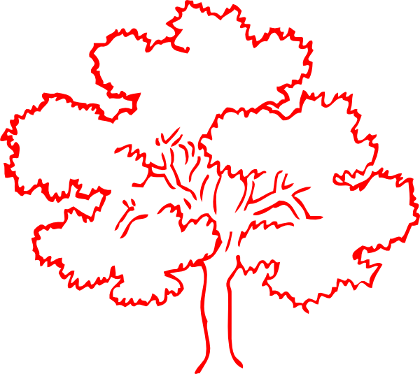 Oak Tree Silhouette Vector.