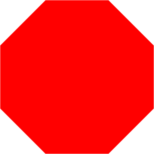 Red octagon icon.