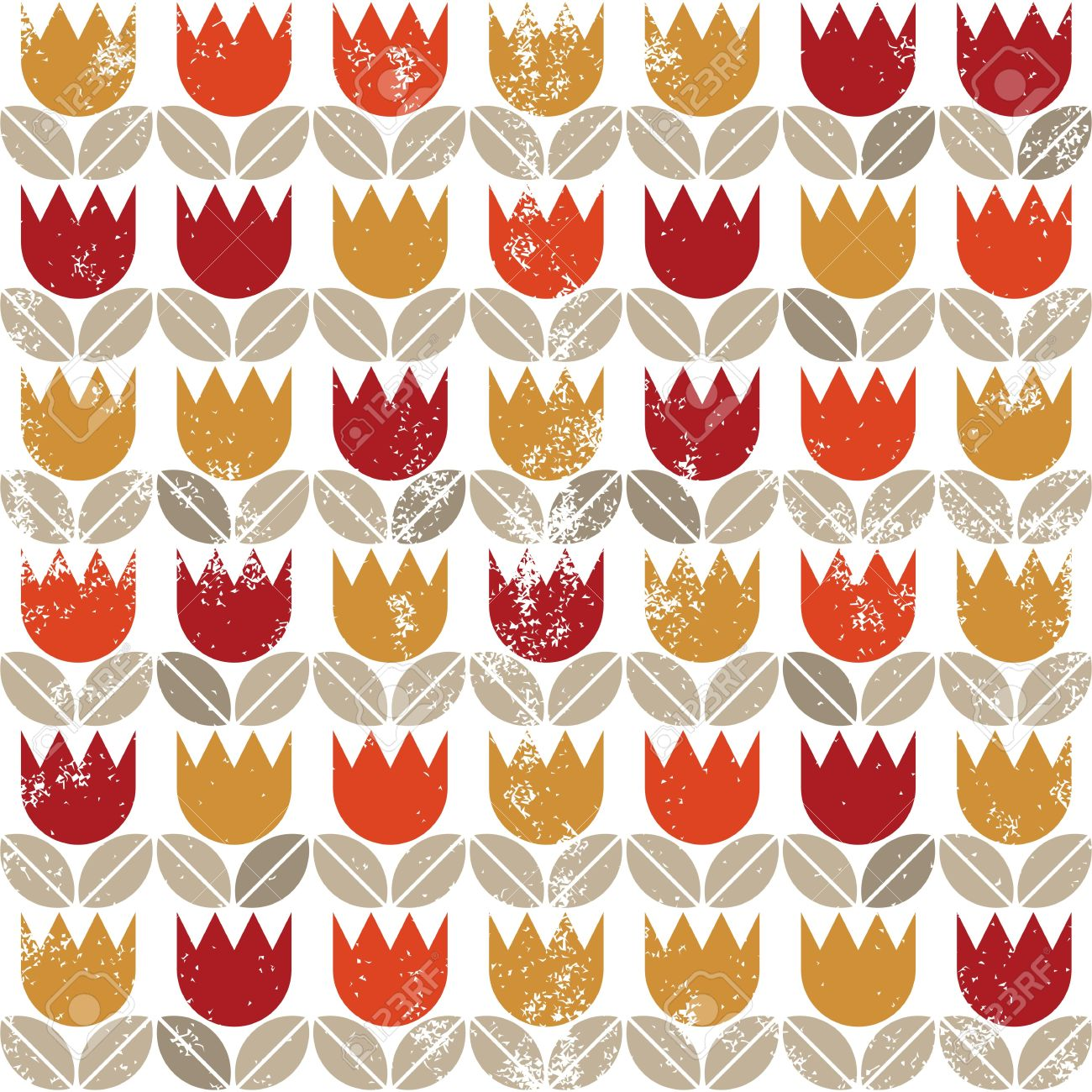 Retro Red Orange Yellow Tulips And Brown Beige Leaves On White.
