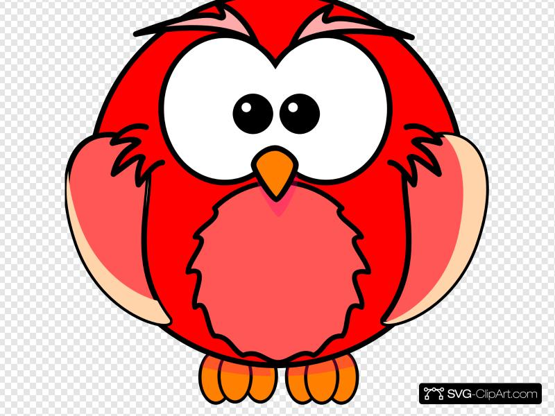 Red Owl Cartoon Clip art, Icon and SVG.